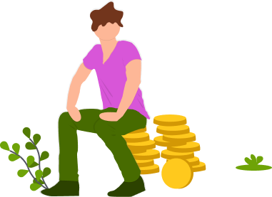 Cartoon man sitting on a pile of coins